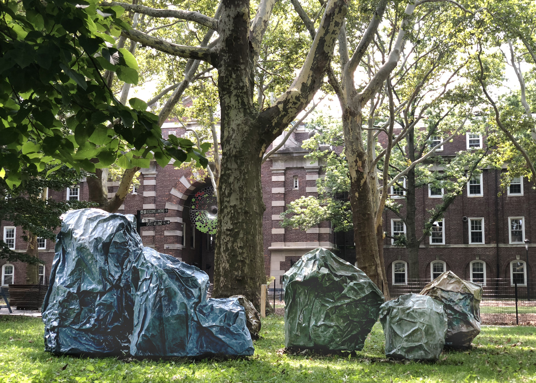 Painting Sculpture Installation by Agnes Deja in NY Governors Island Art Fair Industrial Asphalt Paper Environmental Consciousness